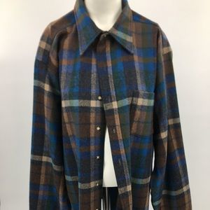 Pendleton Men's Plaid Pure Wool Shirt Size XL